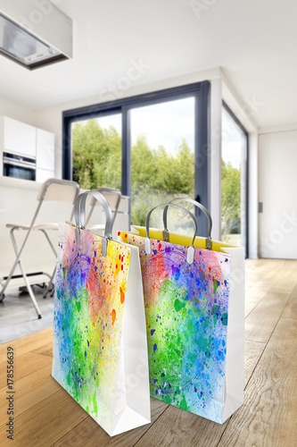 Photo  Modern apartment interior with two shopping bags with Pollock style