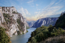 Danube River Near The Serbian ...