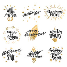 Vector Collection Of Hand-drawn Trendy Black Lettering With Golden Elements On Theme Of Christmas, Winter, New Year.