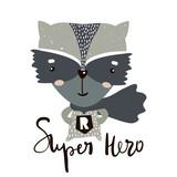 Cute cartoon little raccoon hero. Childish print for nursery, kids apparel,poster, postcard. Vector Illustration - 178560688