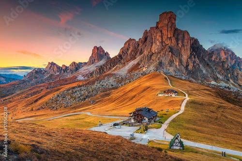 Fototapeta Majestic alpine pass with high peaks in background, Dolomites, Italy obraz
