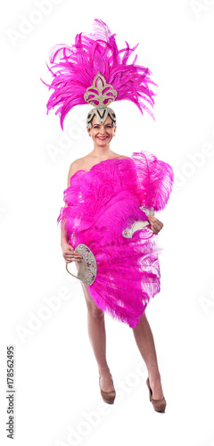 Montage in der Fensternische Karneval Beautiful Girl in carnival costume, isolated on white background.