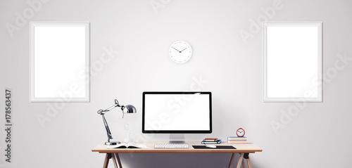 Obraz na plátně  Computer display and office tools on desk