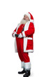 Smiling Santa Claus holding his belt. Happy senior Santa Claus standing on white background adjusting his belt.
