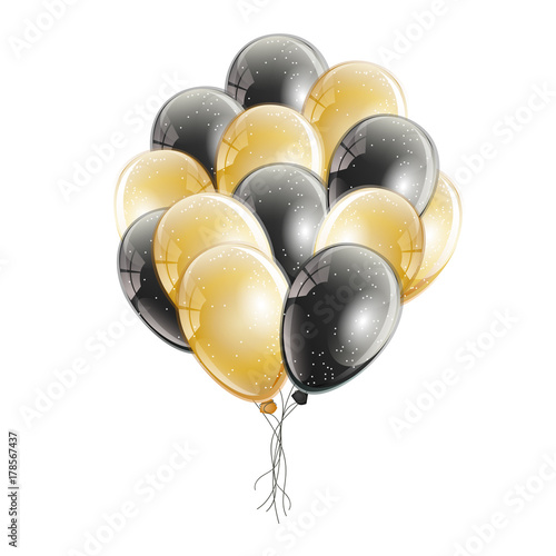 Photo Bunch of realistic black and gold helium balloons with glitter and light reflection, isolated on white background