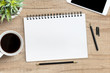canvas print picture - Blank notebook with pen is on top of wood office desk table. Top view, flat lay.