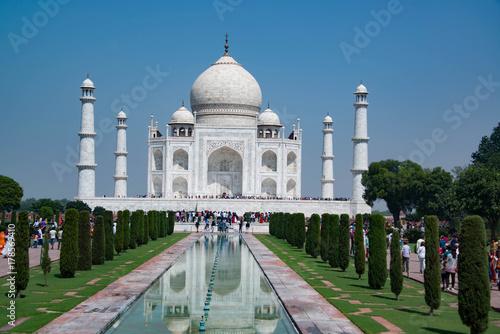 Fotografie, Obraz  The Taj Mahal is a famous landmark mausoleum and tourist destination in India