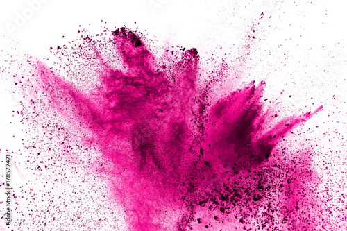 Abstract pink powder explosion on white background. - fototapety na wymiar