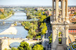 Aerial view on the tower of Our Lady basilica and Elbe river in Zaragoza city in Spain