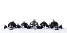 Black Christmas Balls With Sno...