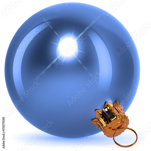 Poster  Christmas ball blue decoration closeup New Year's Eve bauble hanging adornment Happy Merry Xmas ornament polished sparkling flare