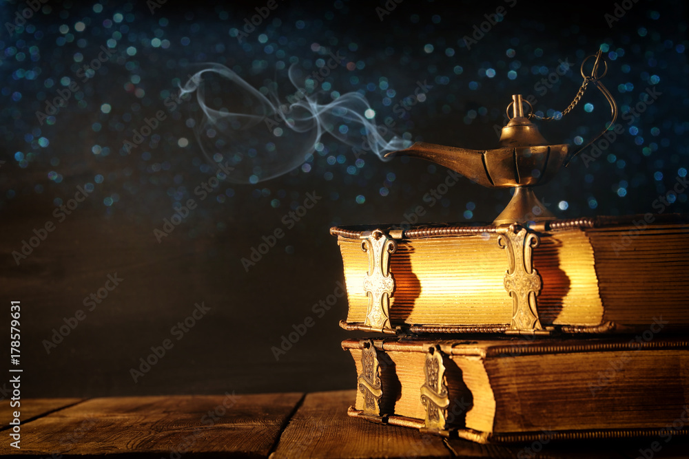 Fototapety, obrazy: Image of magical aladdin lamp with glitter smoke. Lamp of wishes.