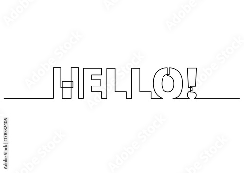 Fototapeta one line drawing of phrase - hello