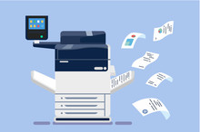 Office Professional Multi-function Printer Scanner. Isolated Flat Vector Illustration