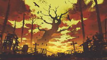 Mysterious Landscape Showing  Big Bare Trees With Flying Birds In Sunset Sky, Digital Art Style, Illustration Painting