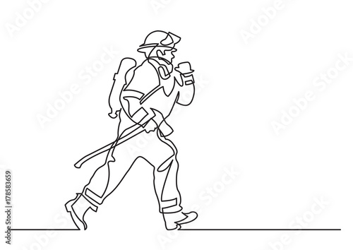 Photographie continuous line drawing of - running firefighter