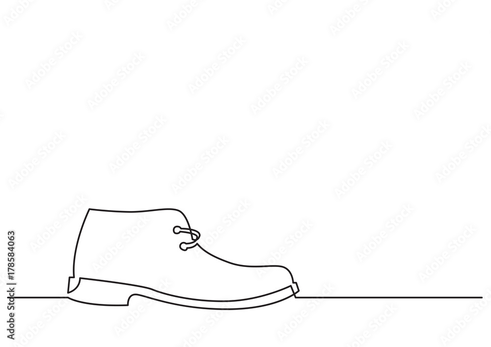 Fototapeta one line drawing of isolated vector object - shoe