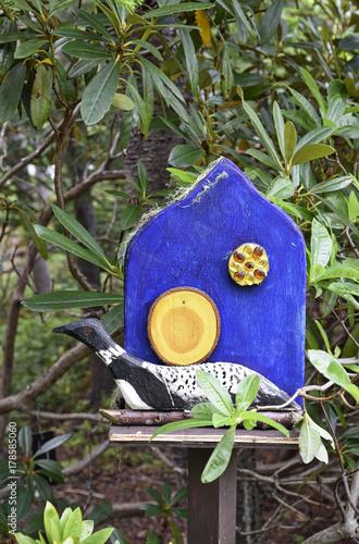 Fotografie, Obraz  Garden gnome bleu house white goose