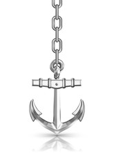 Anchor With Chain Isolated On...