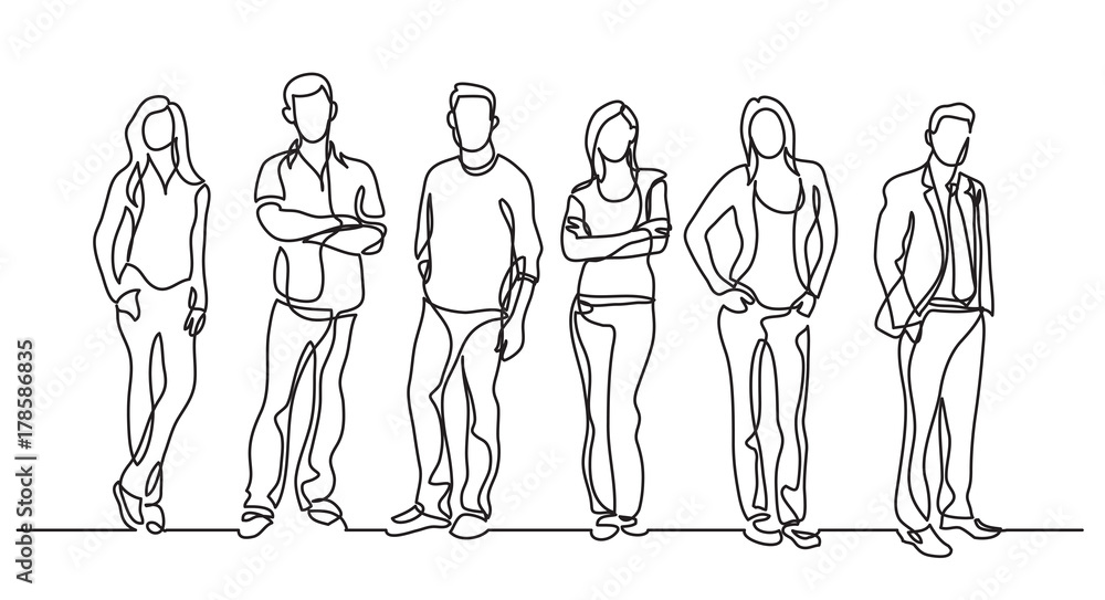 Fototapeta continuous line drawing of diverse group of standing people