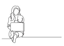One Line Drawing Of A Woman Si...
