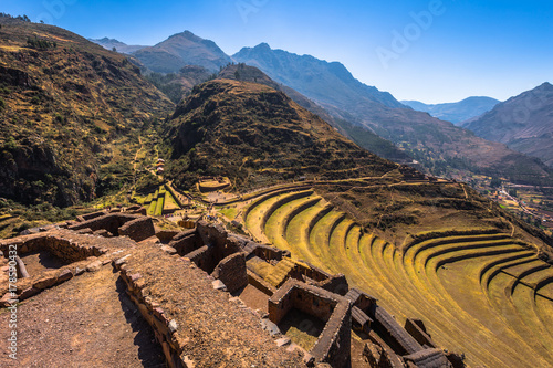 Fototapeta Sacred Valley, Peru - August 02, 2017: Ancient ruins of Pisac in the Sacred Vall