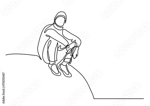 Obraz na plátne one line drawing of traveler sitting on hill