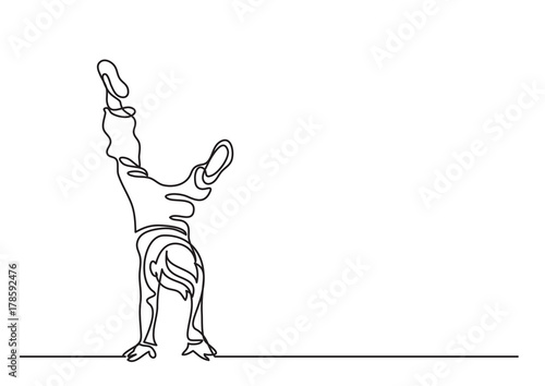 one line drawing of boy standing on his hands buy this stock