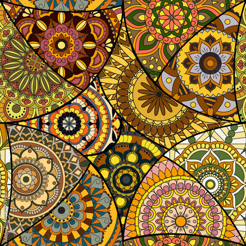 Seamless pattern tile with mandalas Canvas Print