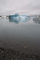 Panoramic Jokulsarlon, Typical Icelandic landscape, a wild nature of seals and icebergs, rocks and water.