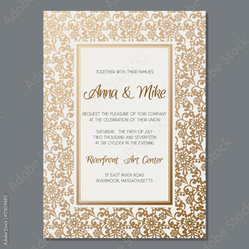 Gold Wedding Invitation Template Vintage Style Cover Brochure