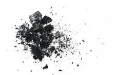 Pile Of Black Coal Bars Isolat...