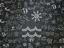 Travel Concept: Chalk White Beach Icon On School Board Background With  Hand Drawn Vacation Icons, School Board
