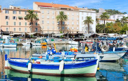 The colorful fishing boat in Ajaccio port, Corsica island. Canvas Print