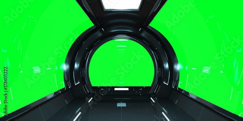 Spaceship dark interior 3D rendering