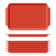 Red Plastic Blank Food Tray Se...