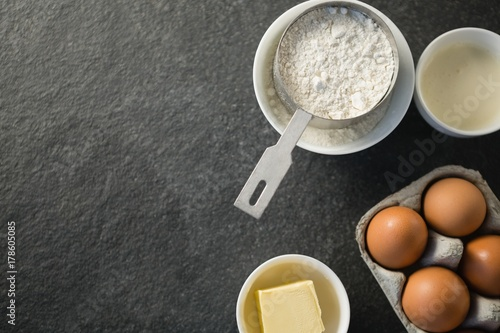 Directly above shot of ingredient by egg carton