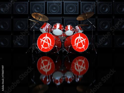 Plakat Zestaw perkusyjny czerwony z anarchii znak na tle ściany wzmacniaczy gitarowych. 3D ilustracja.