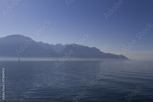 Mountains and Lake Leman in Montreux Wallpaper Mural