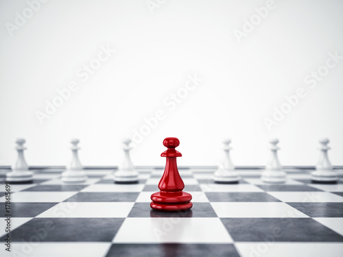 Fototapeta Red pawn ahead of white pawns. 3D Rendering