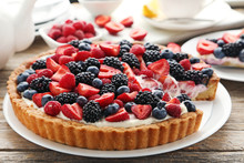 Sweet Tart With Berries On Gre...