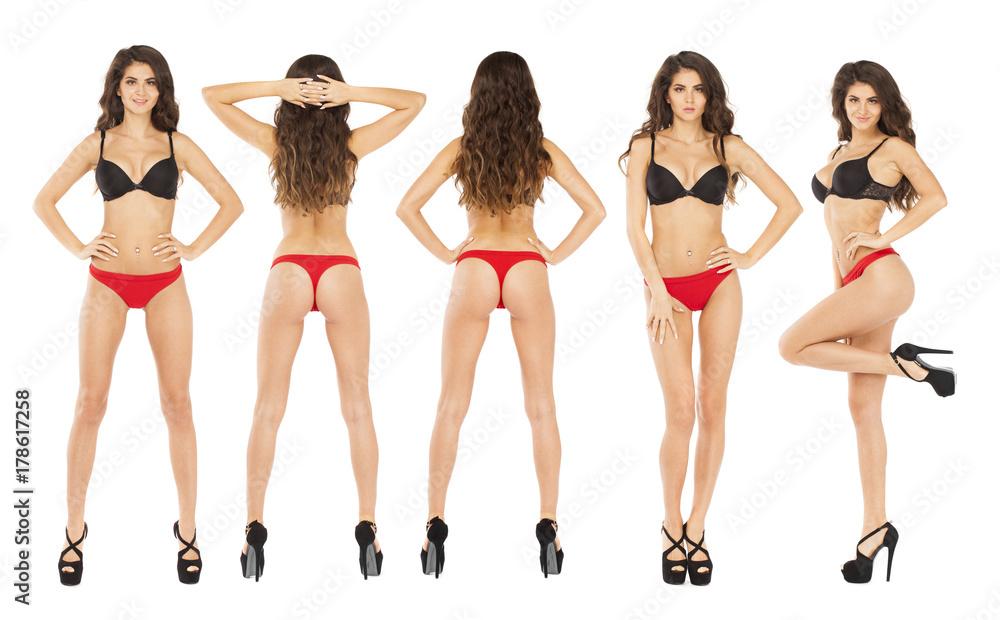 Fototapeta Full length portrait of young woman wearing sexy underwear - obraz na płótnie