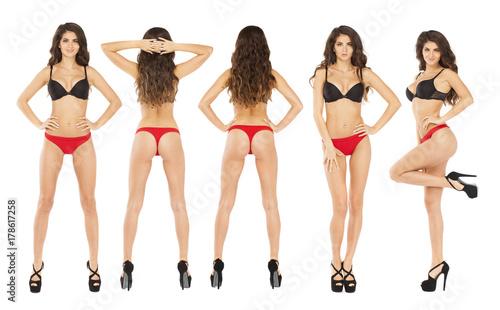 Fototapeta Full length portrait of young woman wearing sexy underwear obraz na płótnie