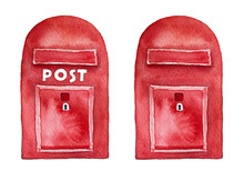 "Red Mailbox For Postcards, Letters, Envelopes. Set Of Two Objects, With ""Post"" Inscription And Without. Traditional Postal Symbol. Hand Drawn Watercolor Illustration, Isolated On White Background."