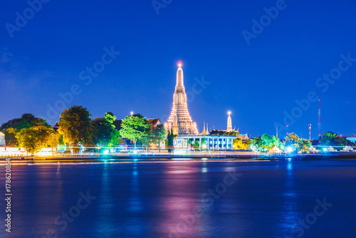 Night view of Wat Arun temple Poster