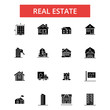 Real estate illustration, thin line icons, linear flat signs, outline pictograms, vector symbols set, editable strokes