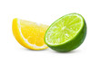 canvas print picture Slice of lemon and lime fruit isolated on white background