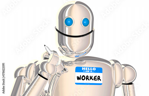 Robot Worker Automated Employee Name Tag Workforce 3d Illustration Wallpaper Mural