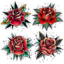 Old School Tattoo Roses Set