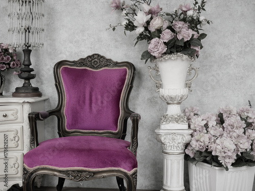 Fotografia, Obraz  vintage chair in antique room decoration with old ancient furniture
